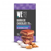 Choconutzbar - Chocolate 70% com Pasta de Castanha de Caju e Coco - We Nutz 100g